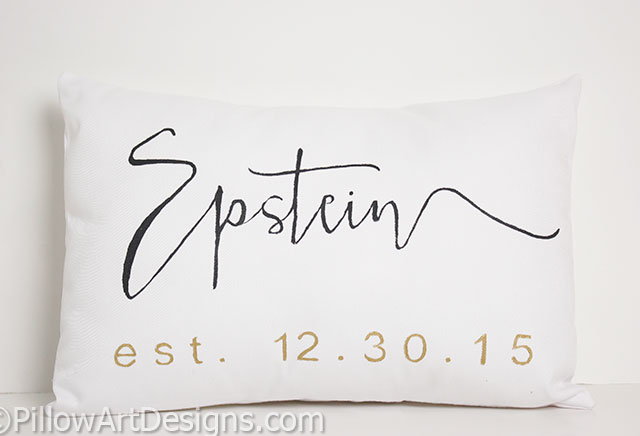 Mr and mrs pillow covers with name est date modern