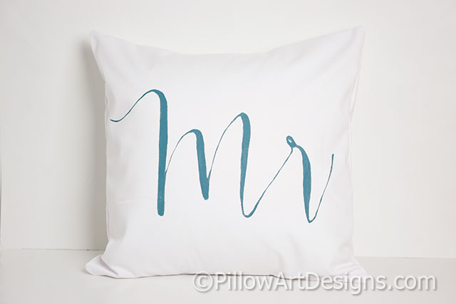 Mr and mrs pillow covers modern calligraphy