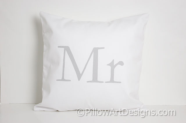 Couples Mr And Mrs Pillow Covers Grey Coral White Cotton