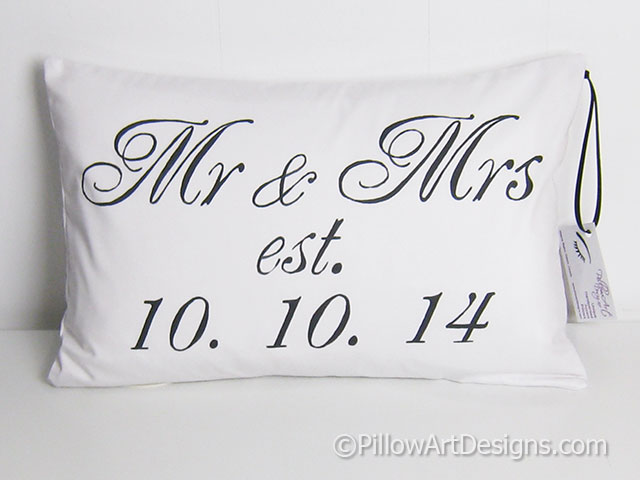 Mr And Mrs Est Date Wedding Pillow