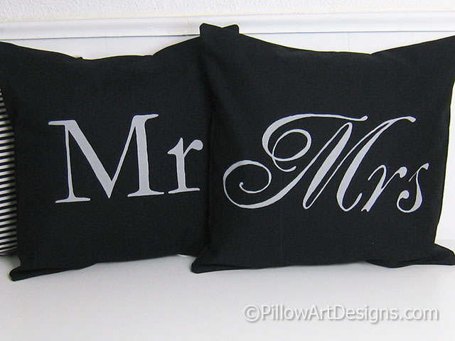 Mr And Mrs Pillow Covers Black And Grey Stunning Mr And Mrs Pillow Covers