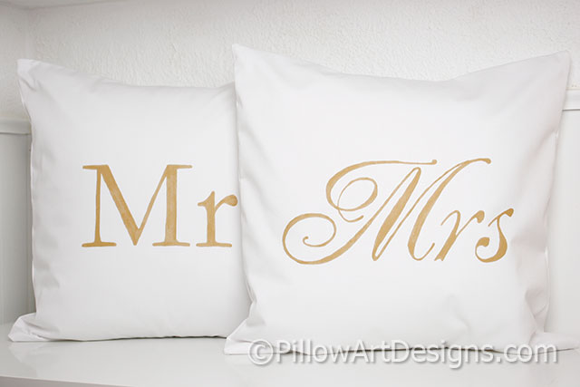 Mr And Mrs Pillow Covers Gold And White Adorable Mr And Mrs Pillow Covers