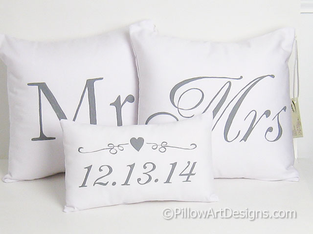Mr And Mrs Pillow Covers With Wedding Date Pillow Set Of Three Hand Unique Mr And Mrs Pillow Covers