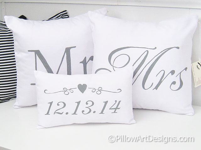 Mr And Mrs Pillow Covers With Wedding Date Pillow Set Of Three Hand Best Mr And Mrs Pillow Covers
